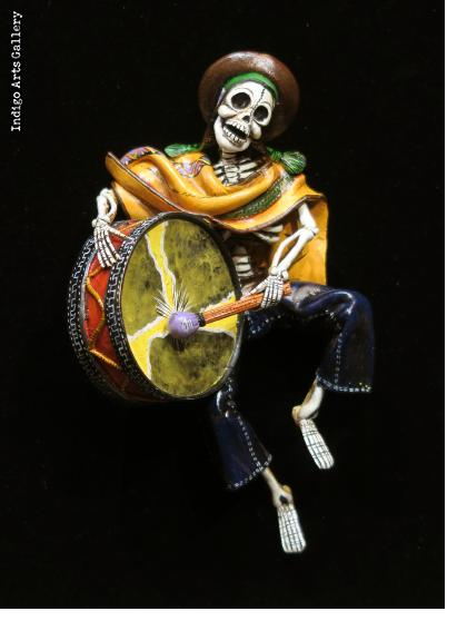 Calavera with a Big Drum - retablo sculpture