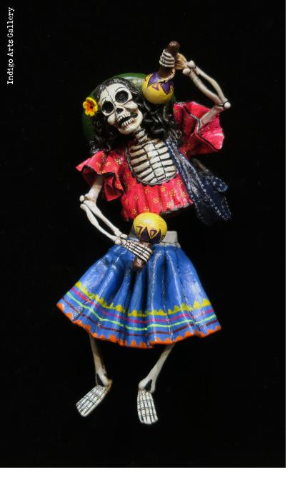 Calavera with Maracas - retablo sculpture