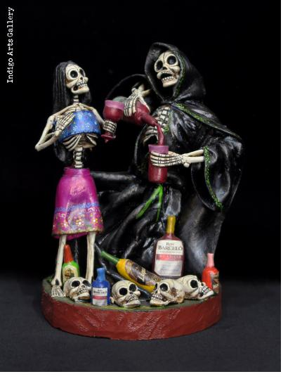 The Grim Reaper's Party in the Cemetery - Calavera Sculpture