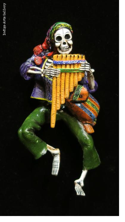 Calavera with Panpipes -Retablo ornament