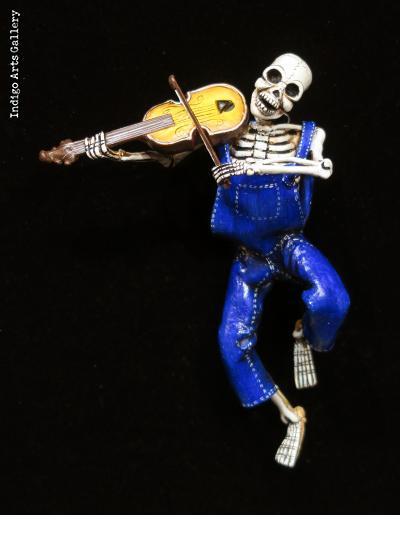 Calavera Fiddler - retablo figure