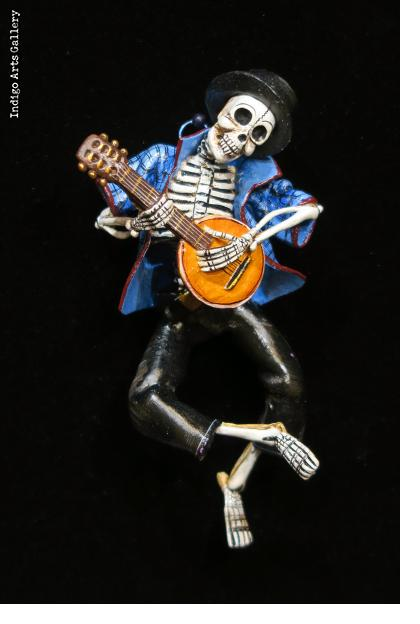 Calavera with Mandolin - retablo figure