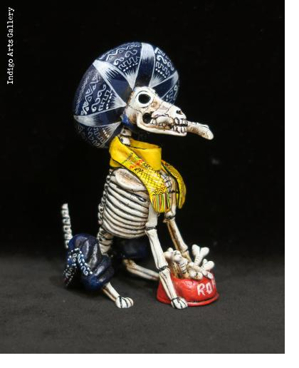 Calavera Mariachi Dog - Retablo Figure