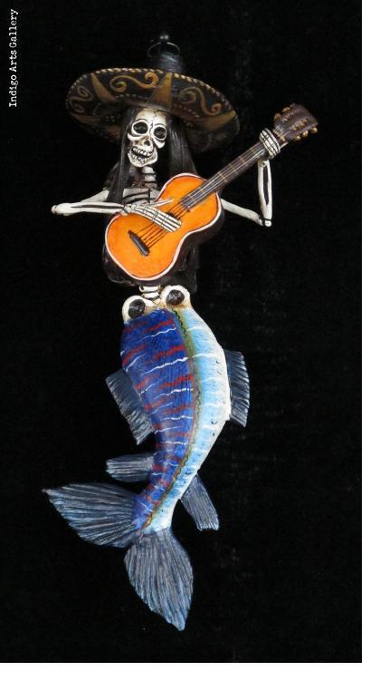 La Sirena Muerte with guitar - retablo ornament