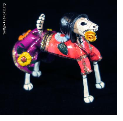 Calavera Dog with Flowers - Retablo Figure
