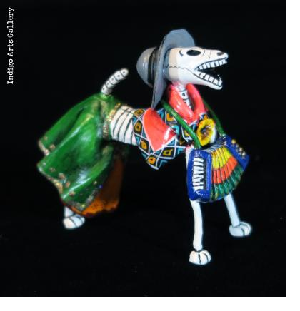Calavera Dog Accordionist - Retablo Figure