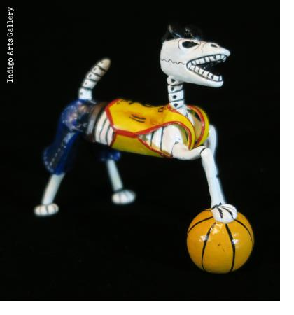 Calavera Basketball Dog - Retablo Figure