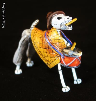 Calavera Drummer Dog - Retablo Figure