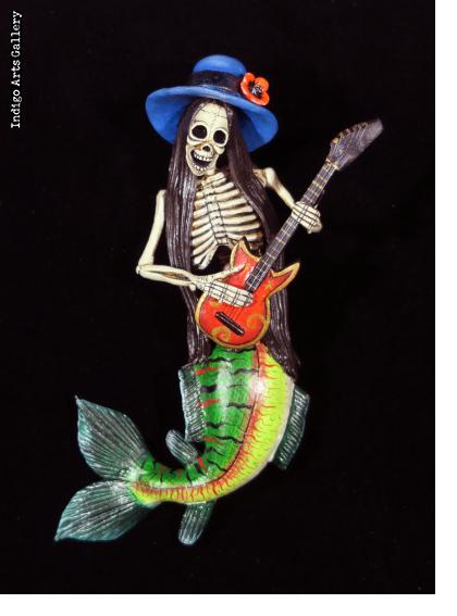 La Sirena Calavera with Guitar - retablo figure