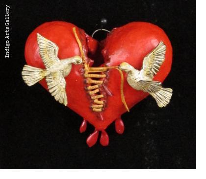 Mending a Broken Heart - Retablo Heart Ornament