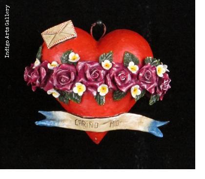 """""""Carino Mio"""" Retablo Heart Ornament"""