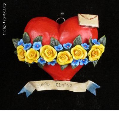 """""""Sueno Contigo"""" Retablo Heart Ornament"""