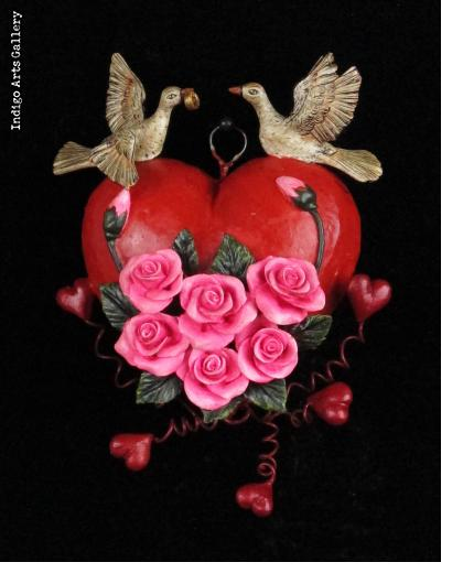 Hearts and Roses - Retablo Heart Ornament