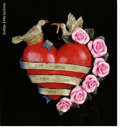 """Paz y Amor"" Retablo Heart Ornament"