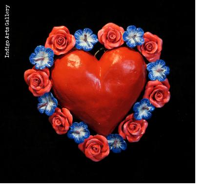 Heart with Flowers Retablo Ornament