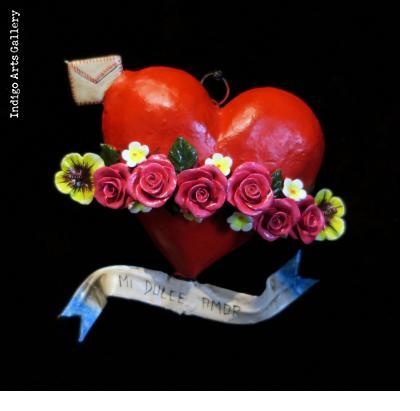 """""""Mi Dulce Amor"""" Retablo Heart Ornament"""