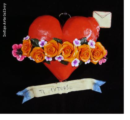 """Te Extrano"" Retablo Heart Ornament"