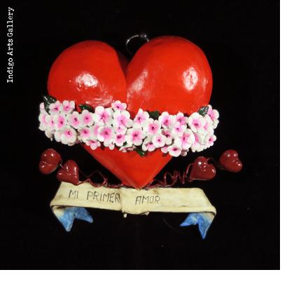 """Mi Primer amor"" (My first love) Retablo Heart Ornament"