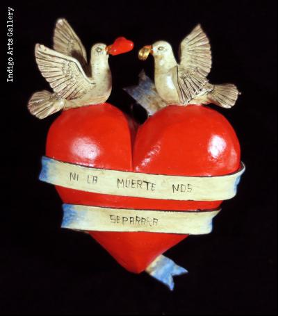 """Ni la muerte nos separara"" (Until death do us part) Retablo Heart Ornament"