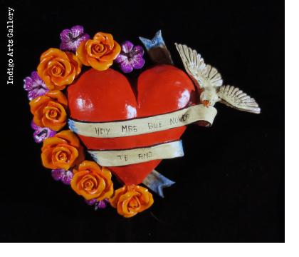"""Hoy Mas Que Nunca Te Amo"" (I love you now more than ever) Retablo Heart Ornament"
