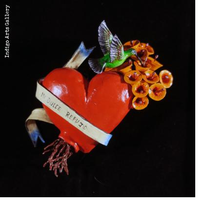 """Mi Dulce Refugio"" (My sweet refuge) Retablo Heart Ornament"