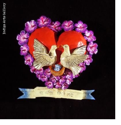 """Te Amo Amor Mio"" (I love you my love) Retablo Heart Ornament"