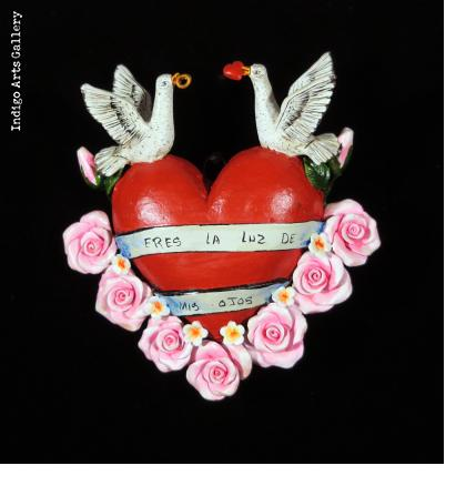 """Eres la Luz de mis Ojos"" (You are the light of my eyes) Retablo Heart Ornament"