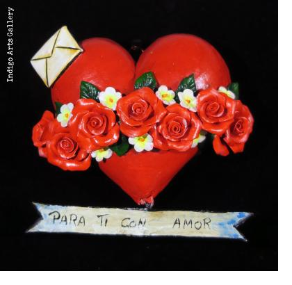 """Para Ti con Amor"" (With love for you) Retablo Heart Ornament"