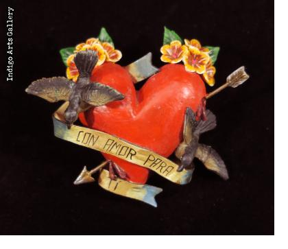"""Con Amor Para Ti"" (With love for you) Retablo Heart Ornament"