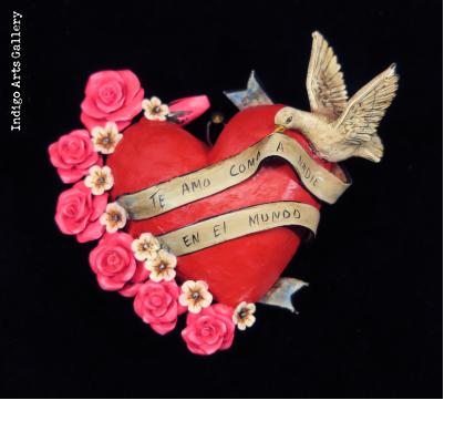"""Te Amo como a nadie en el Mundo"" (I love you like nothing in the world) Retablo Heart Ornament"