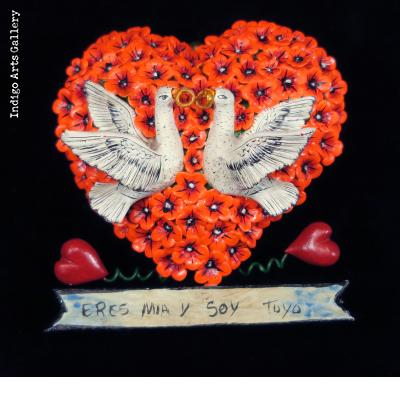 """Eres Mia y Soy Tuya"" (You are Mine and I am Yours) Retablo Heart Ornament"