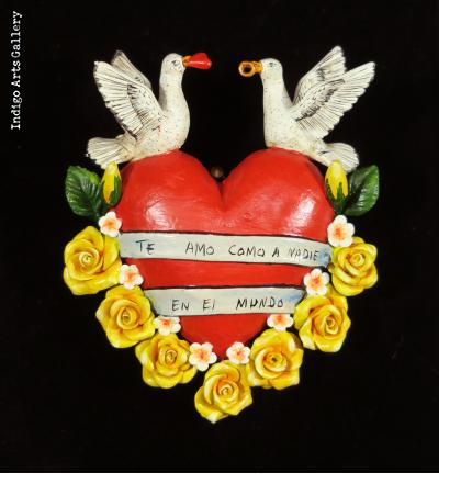 """Te Amo Como a Nadie en el Mundo"" (I love you like nothing in the world) - Retablo Heart Ornament"