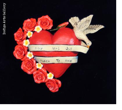 """Hoy Mas Que Nunca Te Amo"" (I love you today more than ever) - Retablo Heart Ornament"