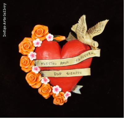 """""""Nuestro Amor Florecera Por Siempre"""" (Our love blooms forever) - Retablo Heart Ornament"""