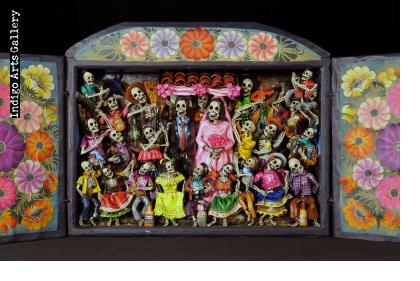 Boda de los Muertos (Skeleton Wedding - version 6) - Retablo