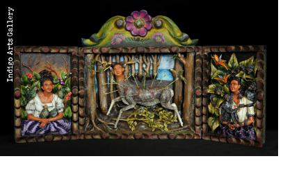 "Frida Kahlo retablo - Parrots, Monkeys & ""Wounded Deer"""