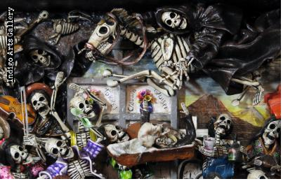 Party in the Cemetery - Day of the Dead Retablo (Version 18)