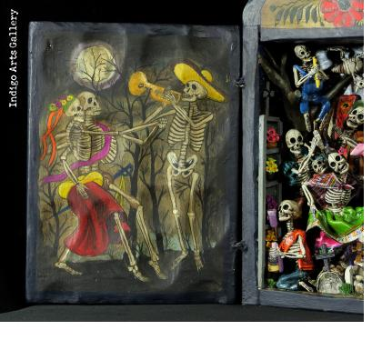 Party in the Cemetery - Day of the Dead Retablo (Version 19)