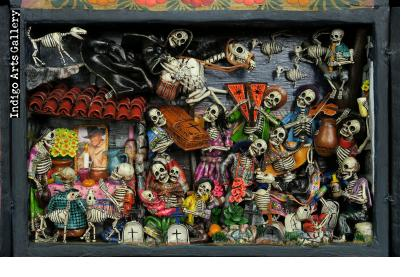 Party in the Cemetery - Day of the Dead Retablo (Version 21)