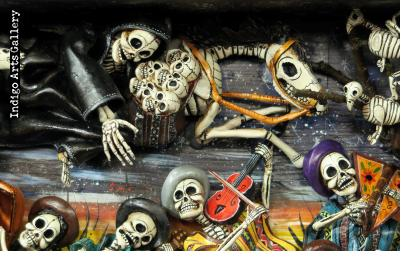 Party in the Cemetery - Day of the Dead Retablo (Version 22)