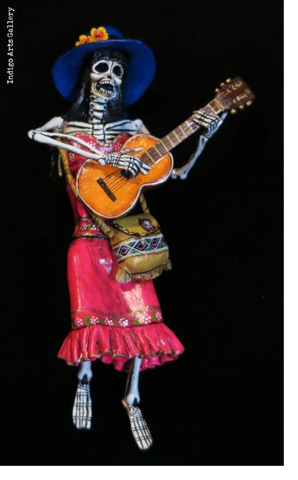 Calavera with Guitar - retablo figure