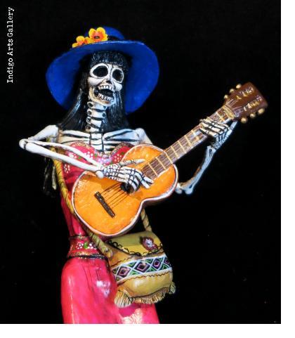 Calavera with Guitar - retablo figure
