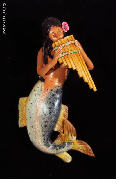 La Sirena with Panpipes - Retablo Ornament