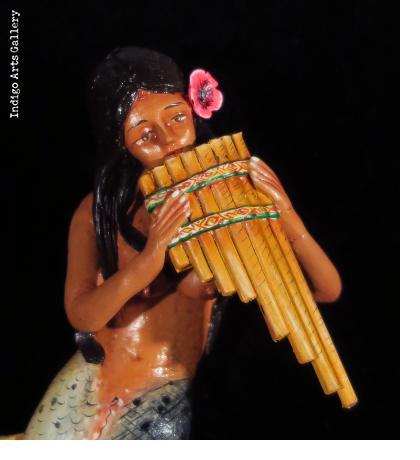 La Sirena with Panpipes - Retablo Ornament