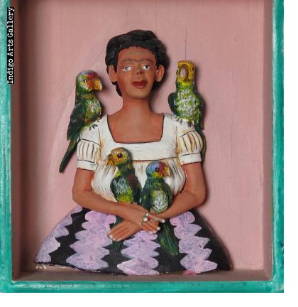 """""""Yo y mis Pericos"""" Frida Kahlo Retablo"""