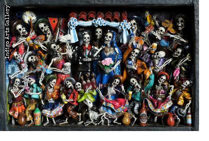 Boda de los Muertos (Skeleton Wedding) - Retablo