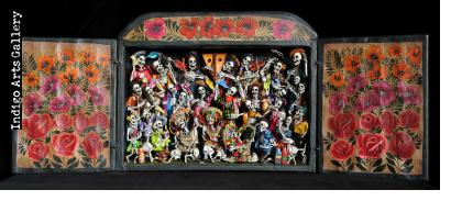 Danza Tijeres de Esqueletos (Dance of the Scissors) - Retablo