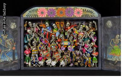 Danza Tijeres de Esqueletos (Dance of the Scissors) Retablo (version 5)