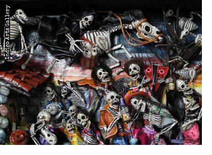 Party in the Cemetery - Day of the Dead Retablo (Version 12)