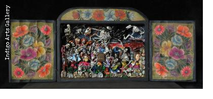 Party in the Cemetery - Day of the Dead Retablo (Version 13)